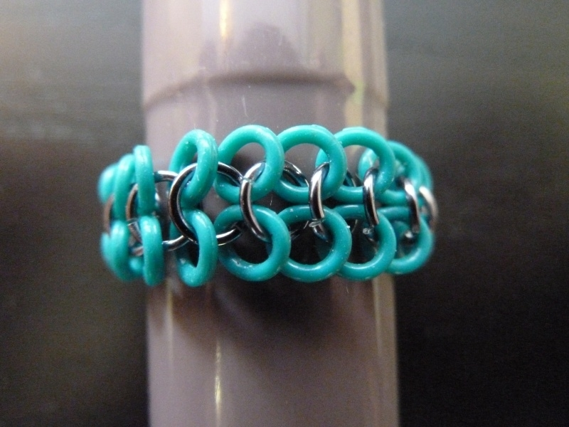 european 4in1 ring turquoise-zilver