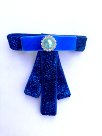 French barrette clip - blauwe strikje