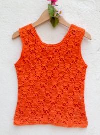 Oranje  gehaakte spencer