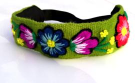 Haarband groen met bloemen