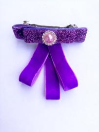 French barrette clip - paarse  strikje