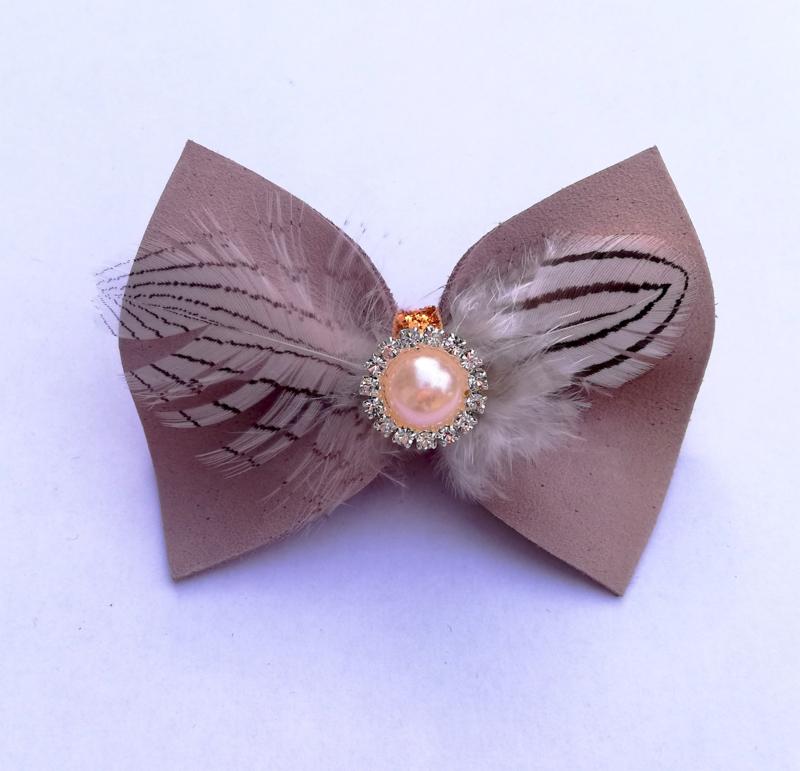 Pasador de cabello  con lazo rosado claro
