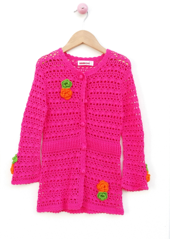 Jersey color fucsia tejido a crochet