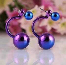 double pearl purple earrings (vanaf 25 euro aan artikelen - EXCLUSIEF verzendkosten)