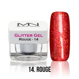 14 glitter rouge gel