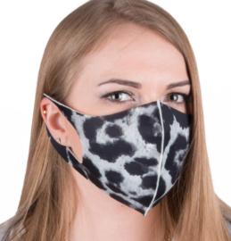 herbruikbaar neopreenschuim mondkapje masker luipaard  zwart maat L / XL 1 st