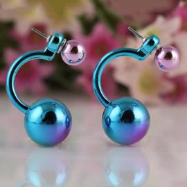 double pearl blue earrings (alleen gratis volgens de vermelde voorwaarden)