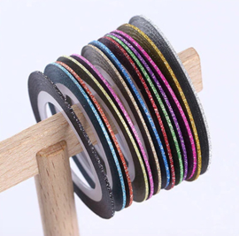 glitter striping tape 1mm set 13 stuks