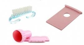 voordeelpakket stempel - scraper - nagelborsteltje en plaathouder