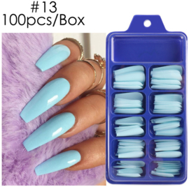press on ballerina tips coffin lt blue