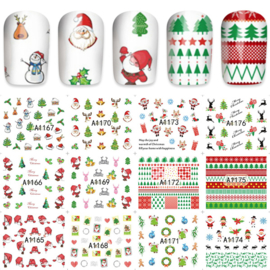 12 kerst water decal stickers