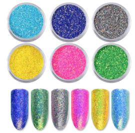 holo laser glitter poeder 6 kleuren