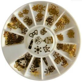 nail art wheel metal flakes goud