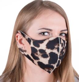 herbruikbaar neopreenschuim mondkapje masker luipaard  bruin maat L / XL 1 st