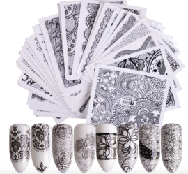 waterdecal set lace black 40 stuks