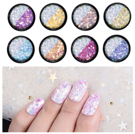 color changing glitter set 8 potjes
