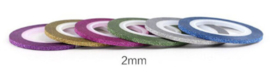 glitter striping tape 2mm set 6 stuks