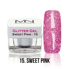 15 glitter sweet pink gel