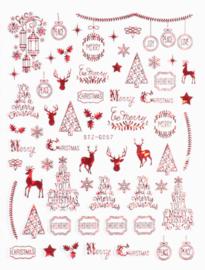 kerst sticker red G057