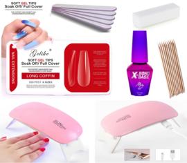 genagels starter kit soft gel tips + mini led lamp