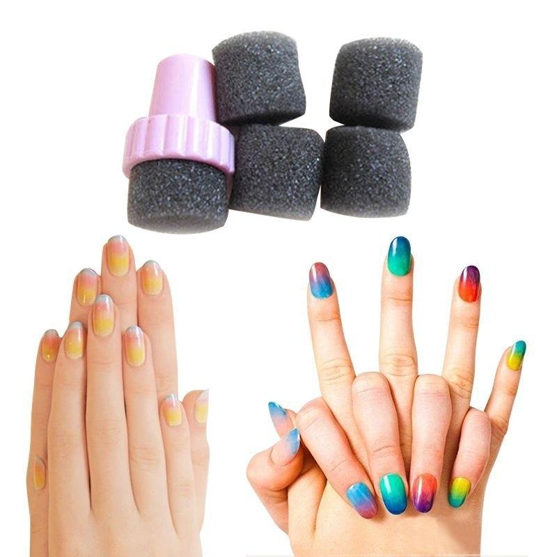 sponge nail art applicator met 4 sponsjes