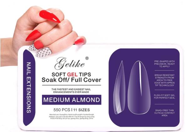 soft gel tips 550 st. medium almond