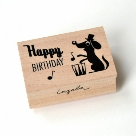Ingela stempel happy birthday dog