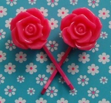 haarspledjes met roos