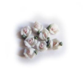 Porseleinen roosje 5mm Wit