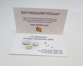 1:12 Dutch coin set Queen Wilhelmina  1898