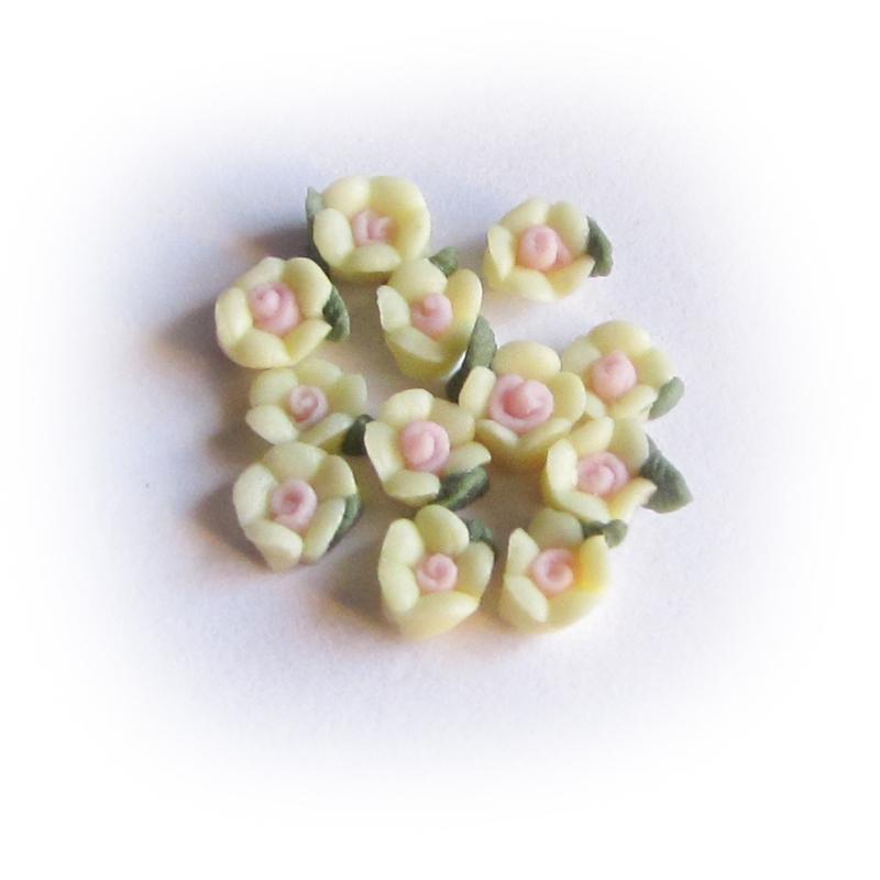 Porseleinen bloem 3mm Lichtgeel