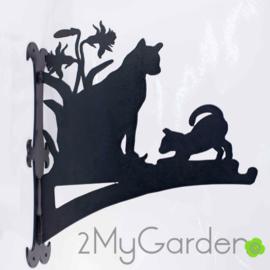 Kat met kitten Hangplant haak 40cm
