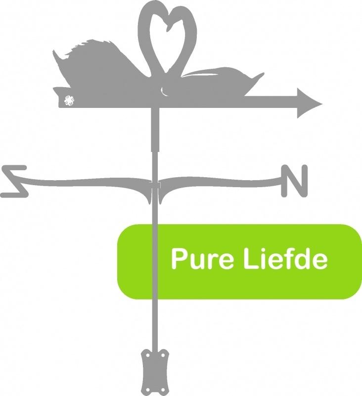 Pure Liefde 2 Zwanen RVS Windwijzer Middel