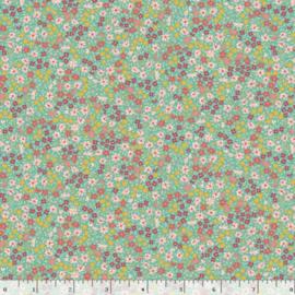 Quiltstof groen met bloemetjes R210872 - 0120 BLUE