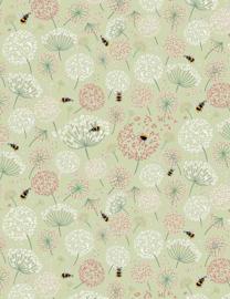 ALPINE 1870 stof met bloem pluizen groen