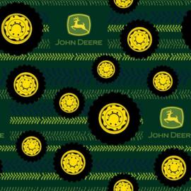 Quiltstof met afbeelding van John Deere tractorbanden en profiel spoor 105