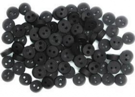 knopen: klein, rond, zwart 6 mm.