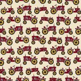 Quiltstof tractor stof met rode tractor 1019419