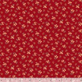 Quiltstof rood met bloemetjes R210874 - 0111 RED