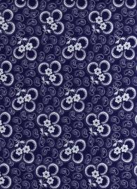 Hollandse quiltstof klavertje blauw/wit (art.nr. 010509010)