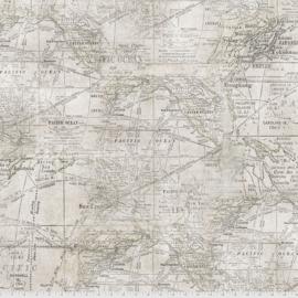 Quilstof antieke wereldkaart, PWTH016, Expedition