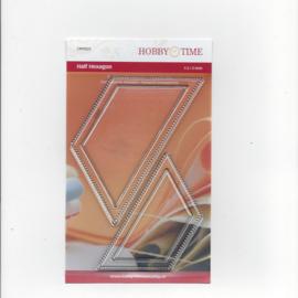 Quiltstempel transparant halve hexagonnen 1.5 en 2 inch crp0025