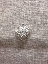 Bedel metalen hart in antiek zilverkleur