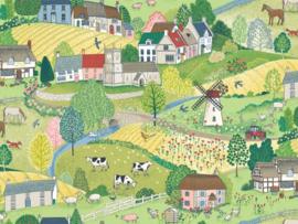 Quiltstof met boerderijdieren en boerderijleven 2290 C1