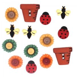 Knopen in de vorm van bloem, bij, lieve heersbeestje en bloempot