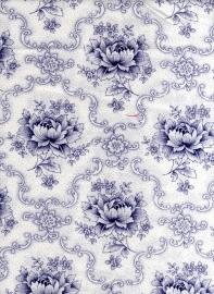 Hollandse quiltstof pioenroos wit-blauw