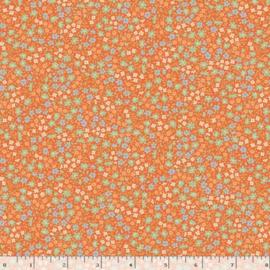 Quiltstof oranje met bloemetjes R210872 - 0128 ORANGE