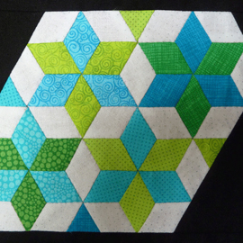 Quiltstempel square, triangle en six point diamond 1.5 inch crp0041