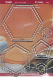 Set 5 stempels - 4 hexagonnen en 1 pentagon CRP0195