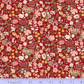Quiltstof rood met roze bloemetjes R210870 - 0111 RED